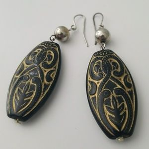 Ornate Black and Gold Dangly Earrings